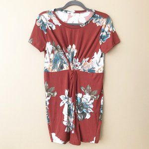 Entro Rust Red Floral Tie Front Mini Dress